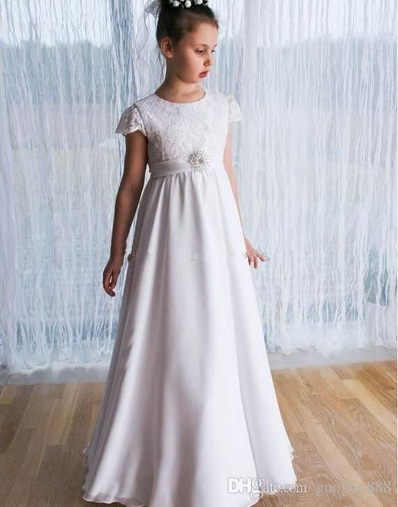 Gorgeous 2016 Flower Girl Dresses New Arrival Crew Cap Lace Sleeve A Line Floor Length Sash Flower Girls Dresses Cheap Pageant Dresses Ivory Flower Girl Dresses Cheap Ivory Flower Girl Dresses For Toddlers From Guoguo888, $34.51| Dhgate.Com