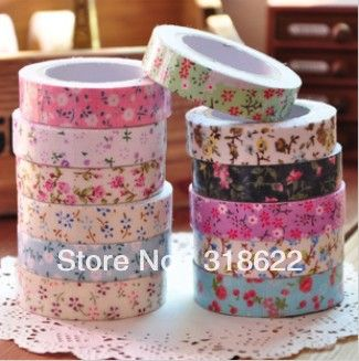 10pcs/lot ,Flower Printed Japanese Masking Tape, Fabric Cotton Tapes,Adhesive Tapes, Korean decor tapes, 1.5cm*5meters/pcs-in Office Adhesiv...