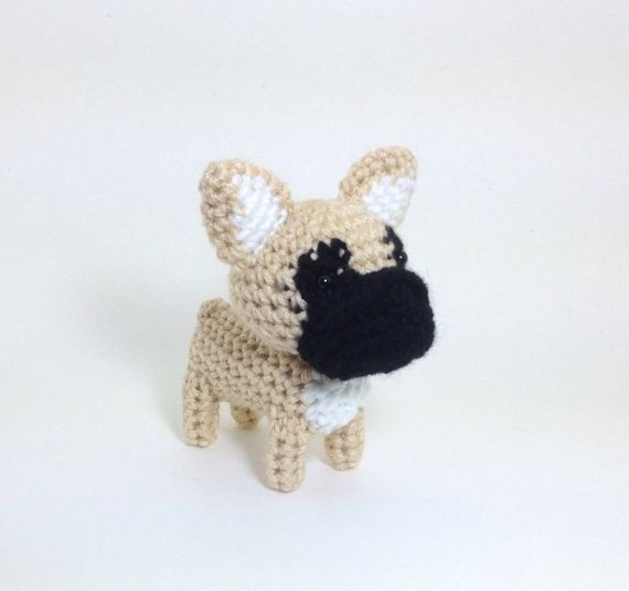 Crochet French Bulldog Amigurumi Frenchie Dog Puppy Ornament Stuffed Animal Desk Decor Handmade Doll / Made to Order on Wanelo