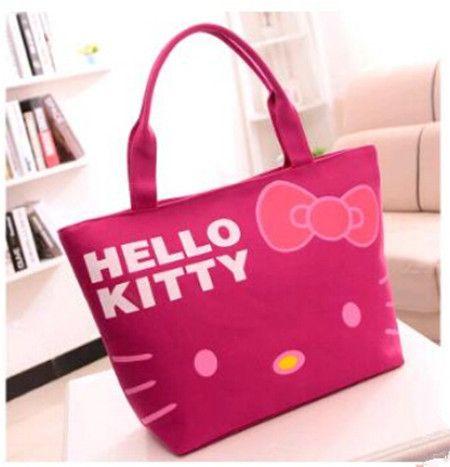 HELLO KITTY Canvas Shoulder Tote Handbag Furly Candy Mickey Ladies Hand Bags Spain Sac A Main Femmes Bolsa De Praia Shopper Bags