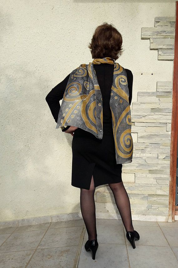 Silk Scarf Handpainted Designer Abstract Grey Gold Unusual Birthday Gift For Her Womens Fashion Acc