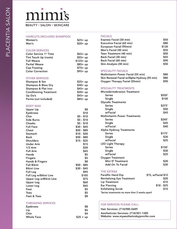 The  Best Hair Salon Price List Ideas On   Hair Salon