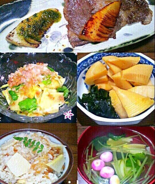 土曜日にタケノコを買いに大多喜までお出かけしてきました。大多喜産のタケノコは、灰汁が少なく柔らかいのが特長です。 昨日はそのタケノコを使って、タケノコずくしな晩御飯作っちゃいました(*^▽^*) 炊き込みご飯 姫皮とミツバのお吸い物 若竹煮 姫皮の梅かつお和え 牛肉のタケノコ添え(タケノコ醤油炒め・木の芽味噌焼き) えぐみも無く めっちゃ美味しかったです(*≧∀≦*) - 168件のもぐもぐ - タケノコずくしな晩御飯 by maichyo
