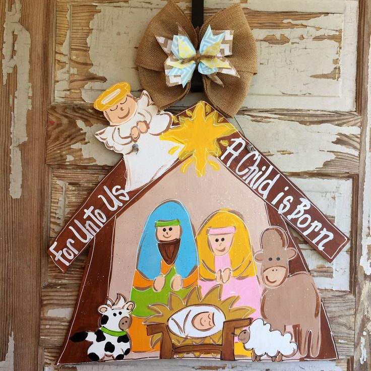 Christmas Door Hanger Nativity Door Hanger Christmas
