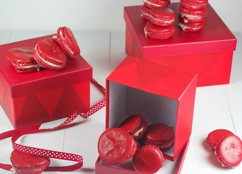 Red Velvet Macarons from The Girl In The Little Red Kitchen
