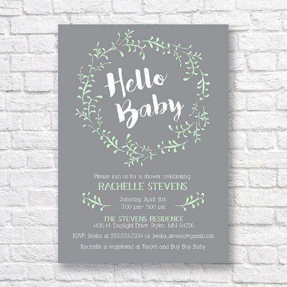 BABY SHOWER INVITATION- Gender Neutral Baby Shower Invitation- printable baby shower invitation- mint and gray invitation- hello baby-  5x7