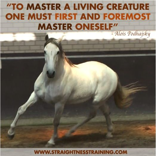 """To master a living creature, one must first and foremost master oneself."""" - Alois Podhajsky."""