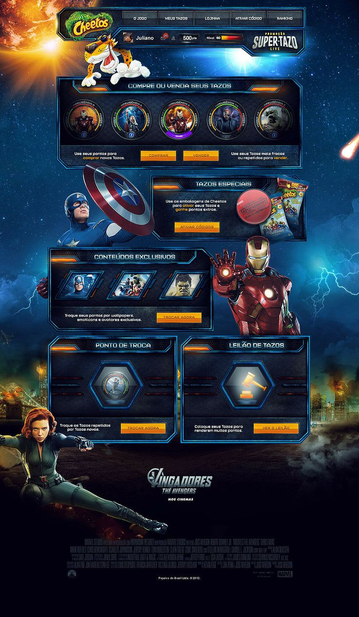 Game Super Tazo - The Avengers - Mr. Conde  colorful web design