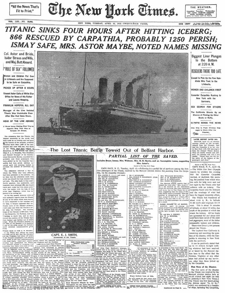 The New York Times reports the sinking of the Titanic. April 16, 1912.  The New York Times, en su edición del 16 de abril de 1912, informa sobre el hundimiento del Titanic.