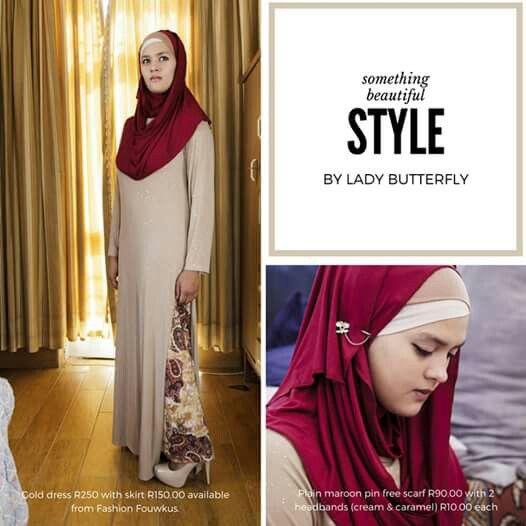 A plain burgundy pin free hijab with a caramel and cream head band.