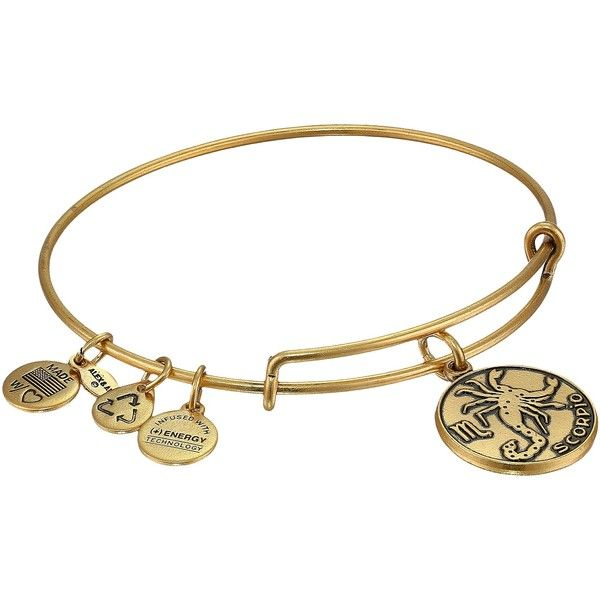 Alex and Ani Scorpio Charm Bangle Bracelet ($22) ❤ liked on Polyvore featuring jewelry, bracelets, gold, adjustable bangle, charm jewelry, gold tone jewelry, alex and ani charms and hinged bangle