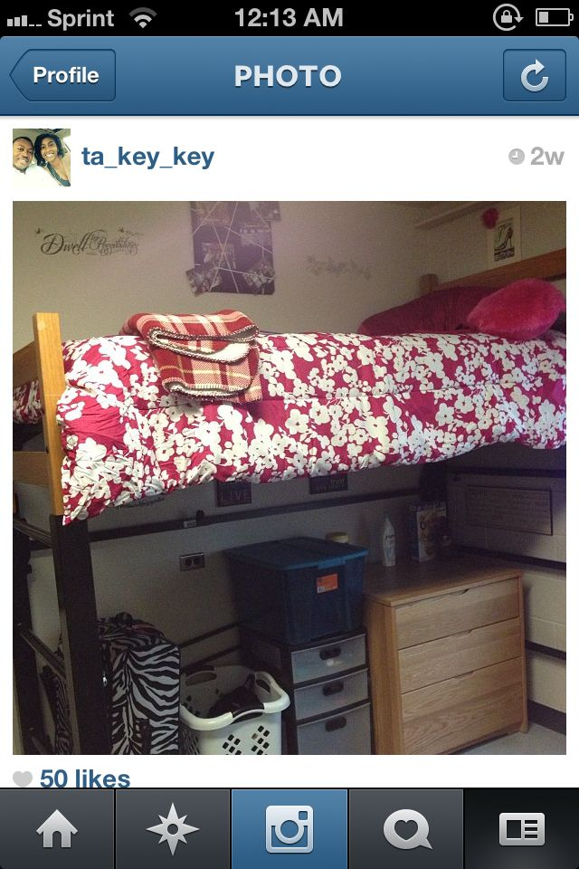 My Lofted Dorm Bed At Ecu Great For Extra Storage And It