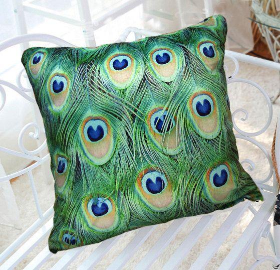 18 Vivid And Chic Mid Century Bedroom Design Ideas: 18 Vivid Velvet Peacock Feather Cushion Case, Decorative