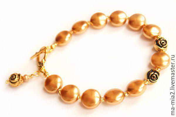 Купить браслет Золотко мое... - золотой, серьги ручной работы, жемчуг Сваровски, жемчужные серьги