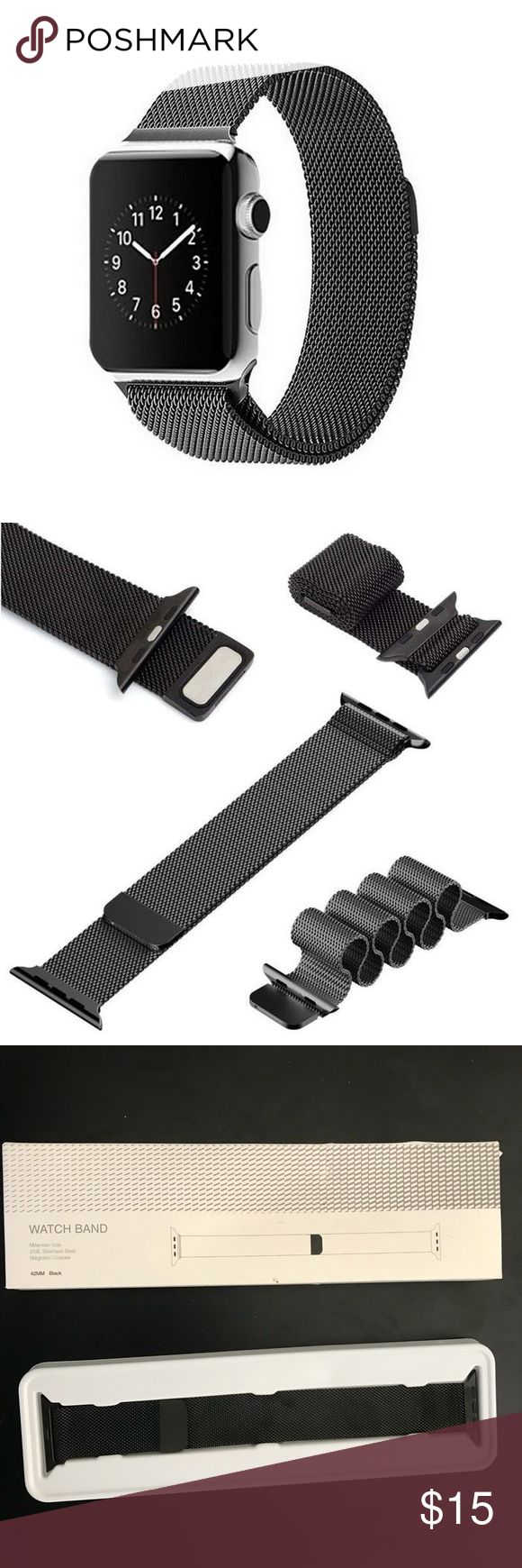 NEW Apple Watch Band Milanese stainless steel 42mm High Quality Stainless Steel Mesh  Extra Strong Magnet Clasp Easy to adjust the length to fit your wrist Passed Pulling Force Test Fits on Apple watch, Watch Sport, Watch Edition Very Soft and Comfortable Color: Black BAND ONLY - WATCH NOT INCLUDED Accessories Watches