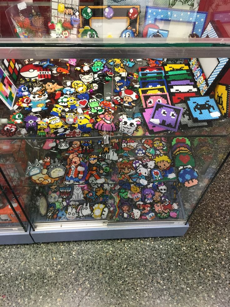 Beadsprite display case in Norma Comics -- Barcelona, Spain - Imgur