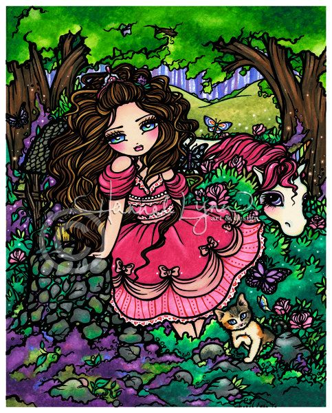 Princess Unicorn 8x10 Art Print Fantasy Hannah by hannahlynnart, $12.00