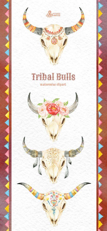 Tribal Bulls. Watercolor hand painted clipart. 4 от OctopusArtis