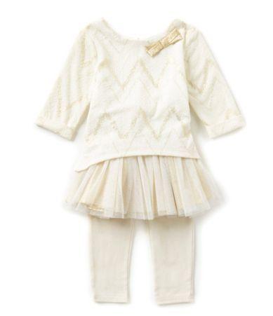 Sweet Heart Rose 2T-6X Foiled Chevron Dress & Leggings Set