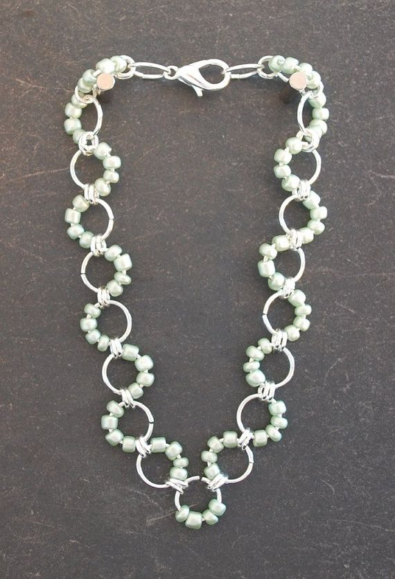 Light Green Chainmaille Bracelet by campbellcreation on Etsy, $16.00
