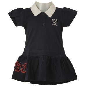 Teddy Baby Collar Frock seems simple but amazingly smart and adorable when worn. Collar neck this cotton frock has front button opening, half sleeves with frills. Pairing with leggings will look awesome for party!Half Sleeve