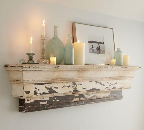 Living room ledgeDecor, Distressed Wood, Ideas, Potterybarn, Shabby Chic, Shelves, Living Room, Mantles, Pottery Barns
