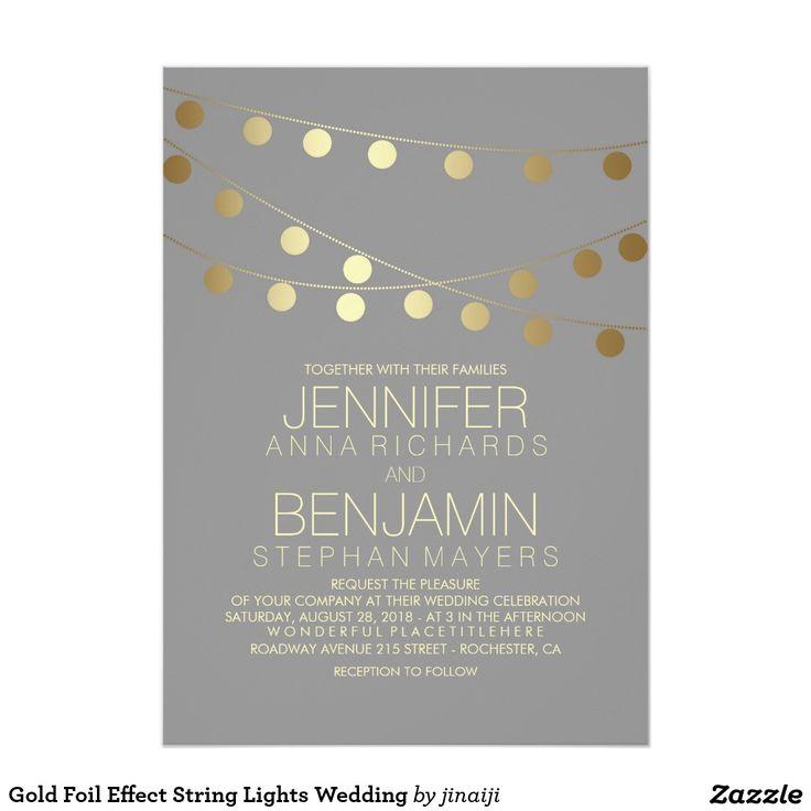 322 best wedding invitations images on pinterest zazzle gold foil effect string lights wedding card stopboris Gallery