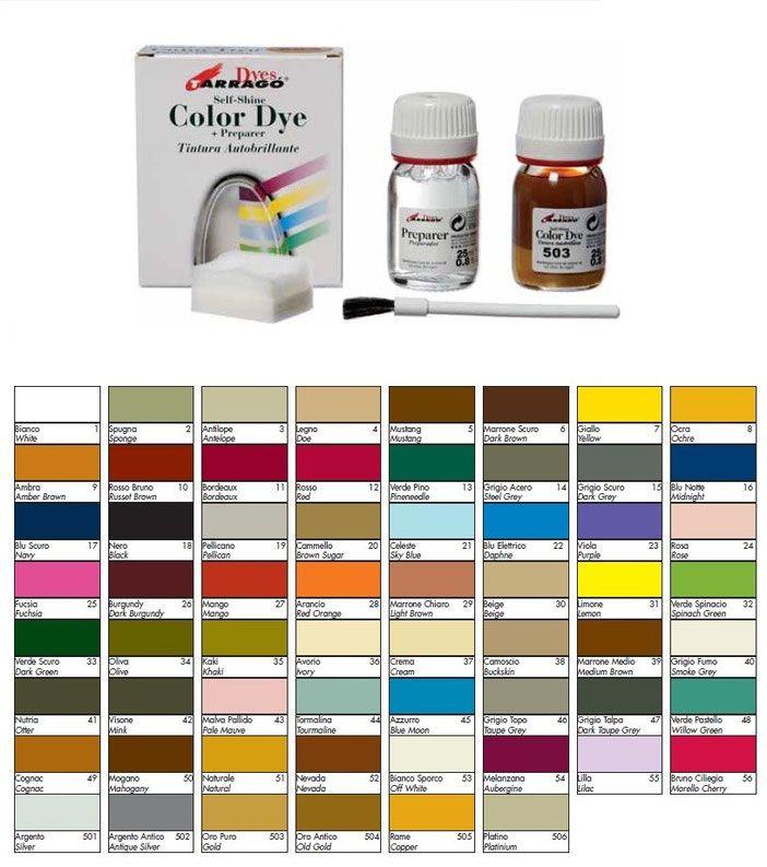 Colore per scarpe - Tintura liquida - Rinnovanti per camoscio - Carluccio & Co. cuoio plantari lucidi pellami - Articoli per calzolai- Gallarate
