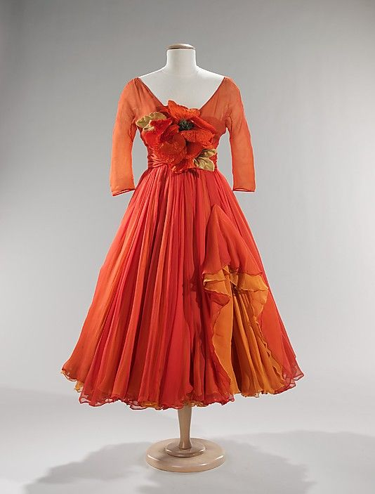 Cocktail Dress  Arnold Scaasi (American, born Canada, 1931)  Date: ca. 1958 Culture: American Medium: silk Dimensions: Length at CB: 44 in. (111.8 cm) Credit Line: Brooklyn Museum Costume Collection at The Metropolitan Museum of Art, Gift of the Brooklyn Museum, 2009; Gift of Kay Kerr, 1965