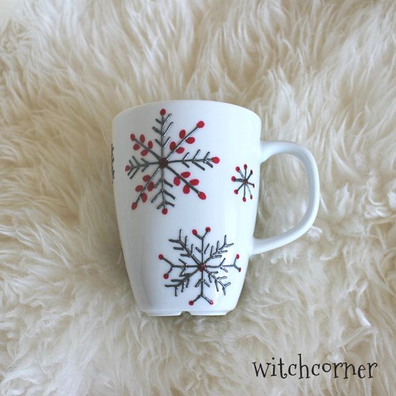 For your special someone who loves tea & coffee.    White porcelain cup with minimal design, painted by grey and red porcelain paint. Dimensions: