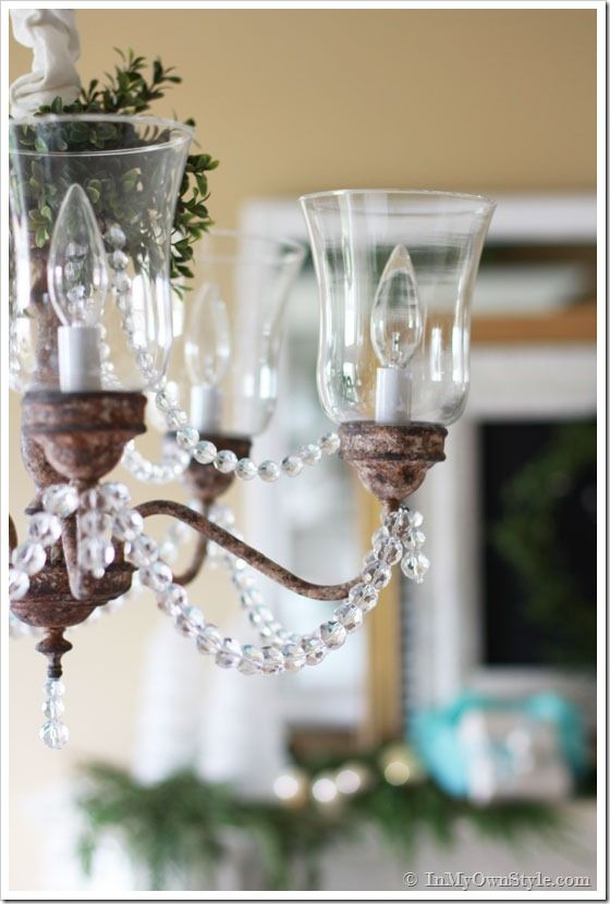 Brass chandelier makeover tutorial. Transform it to one you will love with paint and crystals. Step-by-step photo tutorial | In My Own Style