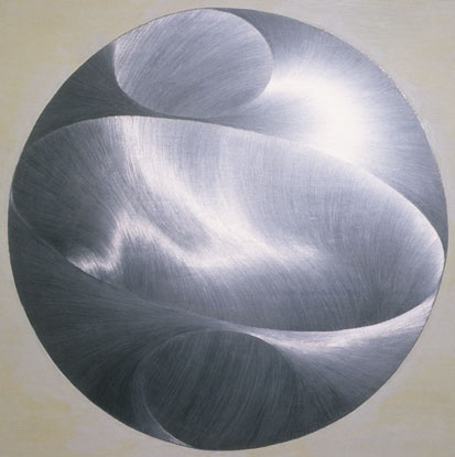 """Droplet, Graphite and milk paint on board, 40"""" x 40"""", 2001, from the series """"Silver Lining."""" © Sky Pape. All rights reserved."""