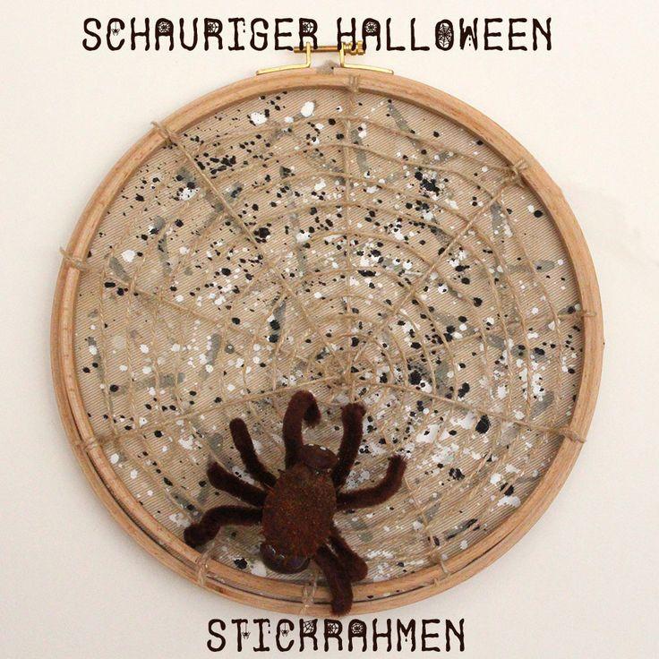 Oktoberstickrahmen an Halloween: Im Netz der Spinne