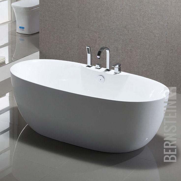 Freistehende Badewanne Acryl ROMA PLUS weiß - 170x80cm Wannenrandarmatur