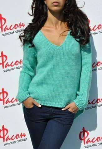 Пуловер с удлиненной спинкой и v-образным вырезом. Описание и выкройка