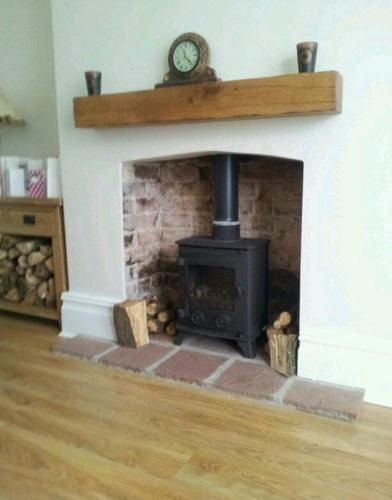 loving the simplicity of wood burner and wooden beam above