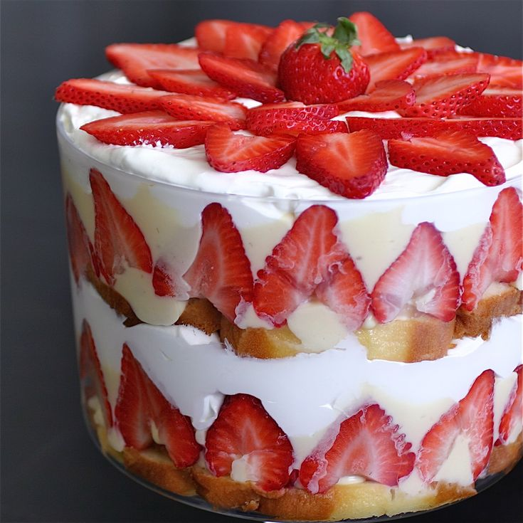 Strawberry trifle...if I was very motivated all those strawberries would be in the shape of a maple leaf.