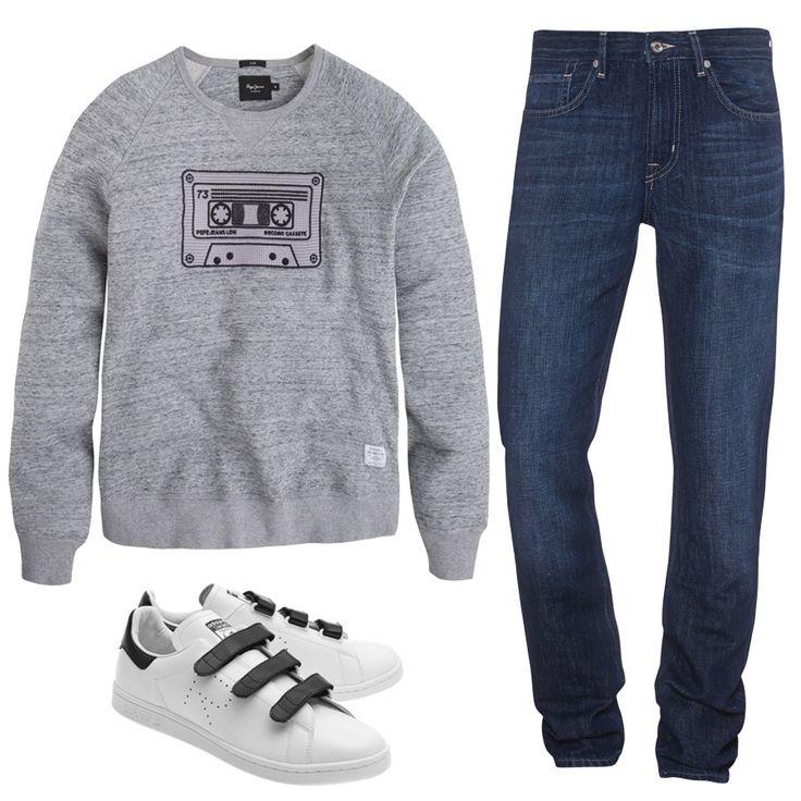 Мы уверены, свитшот Pepe Jeans London с прикольным изображением кассеты не останется незамеченным. Слегка зауженные джинсы 7 For All Mankind идеально дополнят образ. Ведь 70-ые нынче в моде ;) Заходите к нам в JiST, мы поможем вам подобрать что-нибудь яркое и стильное. #fashionable #outfitidea: #stylish #navy #7ForAllMankind #jeans & #chic #PepeJeansLondon #sweatshirt are perfect for #trendy #fall #outfit #мода #стиль #тренды #джинсы #свитшот #модно #стильно #осень