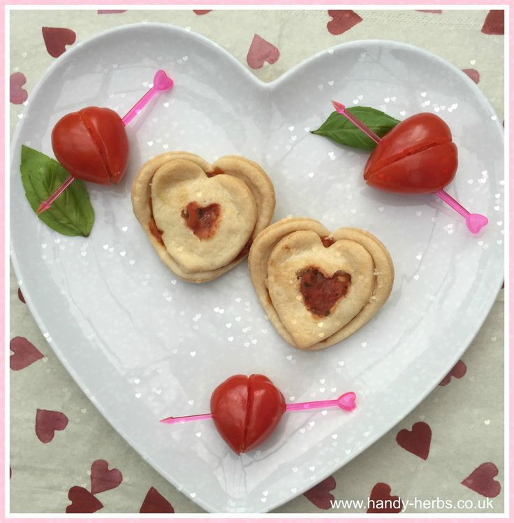 Basil and Tomato Salsa Valentine Heart Herb Snack - Children will enjoy making these and giving them out to family/friends.