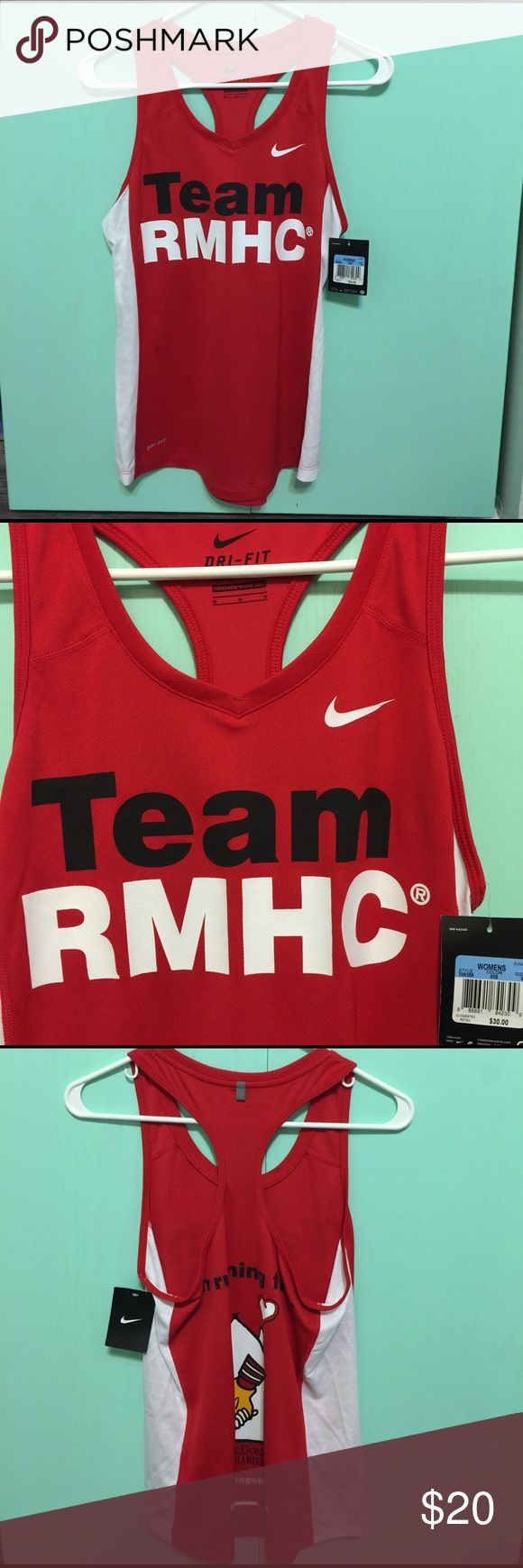 RMHC Nike dri-fit tank top Brand new! I purchased this Nike Dri-fit tank for the Chicago marathon last year when I ran for Ronald McDonald House Charities and I never used this. Originally $30 asking $20 Team RMHC logo in the front and back! I do discounts on bundles Nike Tops Tank Tops