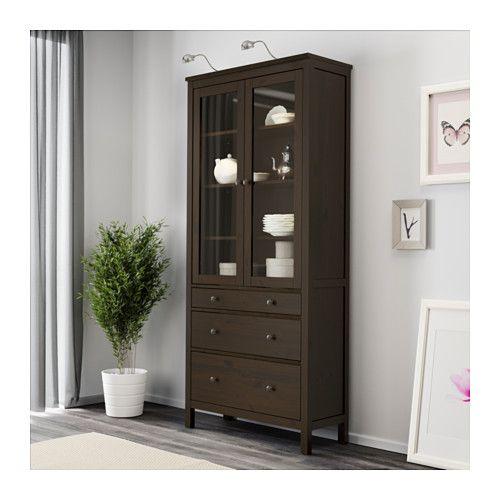 HEMNES Glass-door cabinet with 3 drawers - black-brown - IKEA