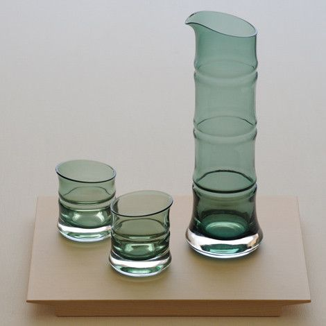 Japanese Glassware Sake Sets - Bamboo Style – available in both clear or green glass - SAKURA The Art of Living