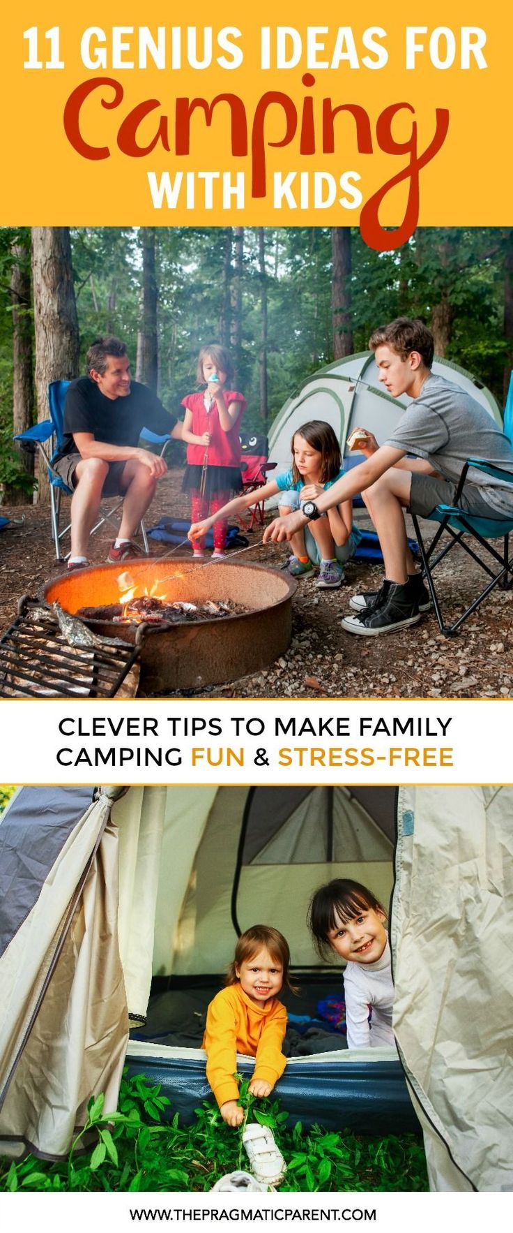7 Genius Camping Hacks to Make Camping with Kids Easy & Fun! How to Organize for Family Camping, Prepare Your Campsite, Tips with Kids, Safety & Food Hacks, and Tips to Ensure a Great Camping Experience with Kids.