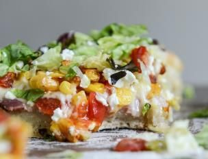 BLT Pizza with Grilled Corn + Crumbled Feta.