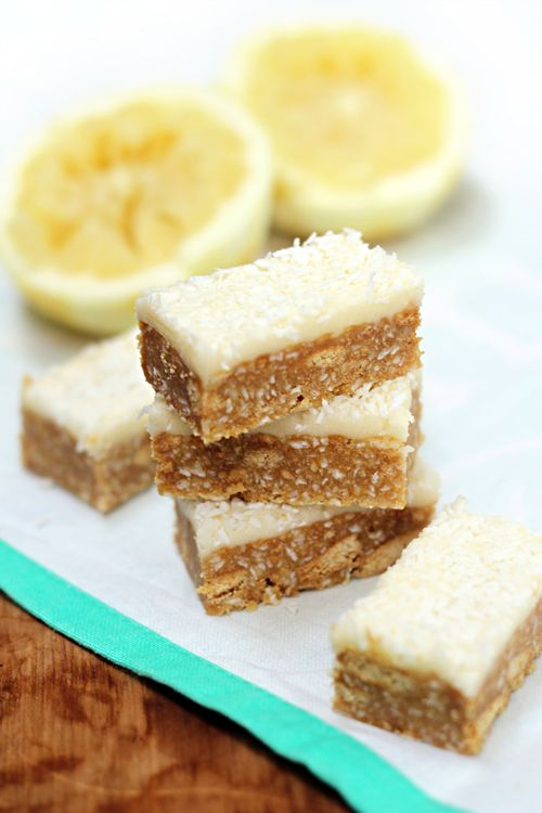 No bake coconut lemon (or lime?!) bars.. (These were DELICIOUS and only took about 15mins to prep) ^_^
