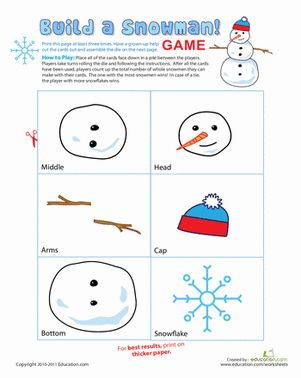 Winter Kindergarten Paper Projects Printable Board Games Worksheets: Snowman Game: Build a Snowman!
