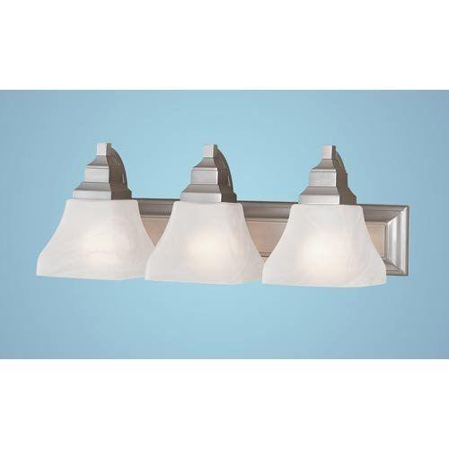 Millennium Lighting, 3 Light Bathroom Light by Millennium Lighting, Inc. $145.90. Finish:Satin Nickel, Glass:Faux Alabaster, Light Bulb:(3)100w A19 Med F Incand Three-light bath & vanity fixture.