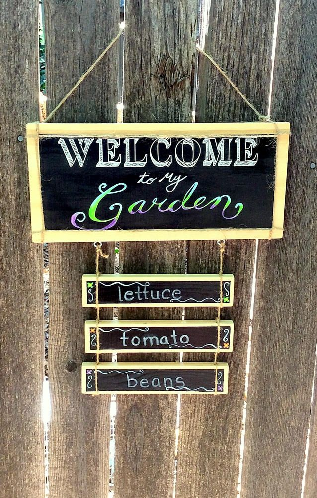 Welcome To My Garden Wooden Sign Wooden Hanging Sign Kitchen Sign Hand Painted Custom Sign Wooden Signs Novelty Sign