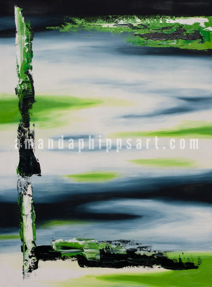"""New Depths"" Abstract oil painting on canvas  34x46x1.75"" amandaphippsart.com"
