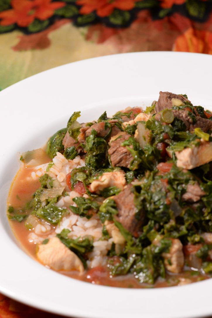 """Malagasy Romazava is the national dish of Madagascar. It is a meat stew filled with a combination of green leafy vegetables. It is served over rice which is a staple at every meal. When invited to eat in Madagascar they say """"Manasa Hihinam-bary!"""" which literally means ..."""